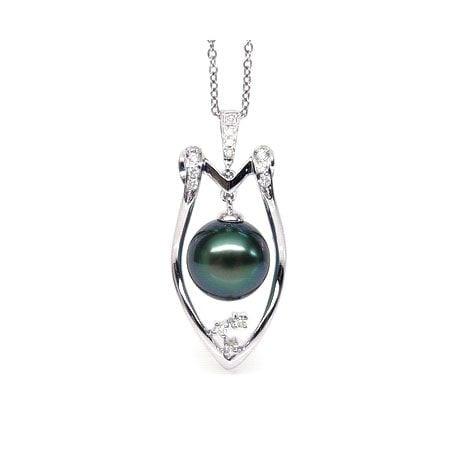 Ciondolo scudo oro bianco - Perla di Tahiti nera, blu, verde - 9/10mm