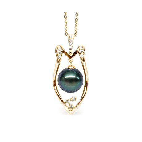 Ciondolo scudo oro giallo - Perla di Tahiti nera, blu, verde - 9/10mm
