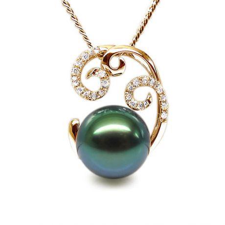 Ciondolo oro giallo - Perla di Tahiti nera, blu, verde - 9.5/10mm