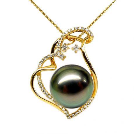 Ciondolo oro giallo - Perla di Tahiti nera, pavone - 12/13mm