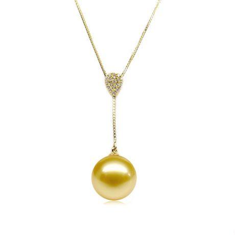 Ciondolo Pendente. Oro Giallo e Perla australiana