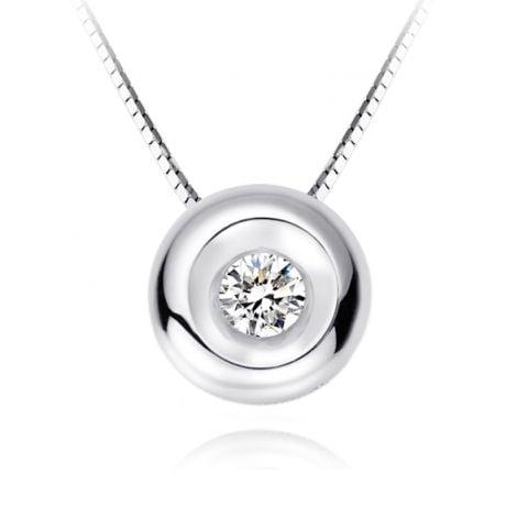 Ciondolo Solitario - Oro bianco - Diamanti 0.0100ct