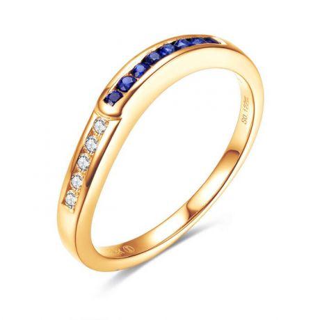 Anello Duale. Oro Giallo, Diamanti e Zaffiri