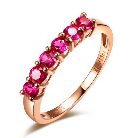 Anello rubini oro rosa - Anello pavé di sei rubini
