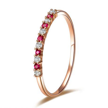 Anello con rubini, diamanti - Oro rosa 18 carati