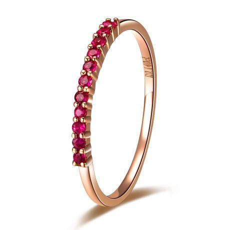 Anello Oro Rosa 18 carati - Facetta Rubini Birmani