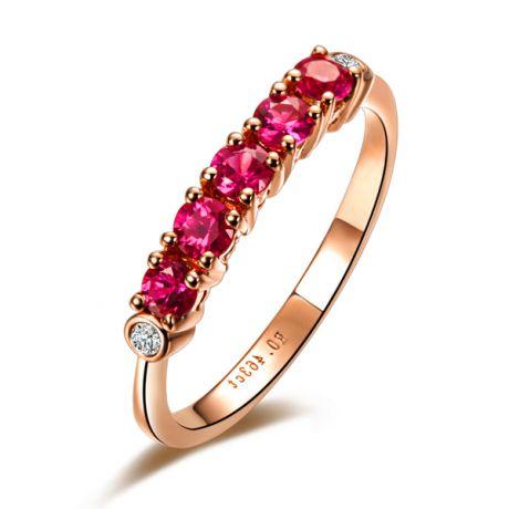 Anello rubini e diamanti - Sofisticato e glamour - Oro rosa