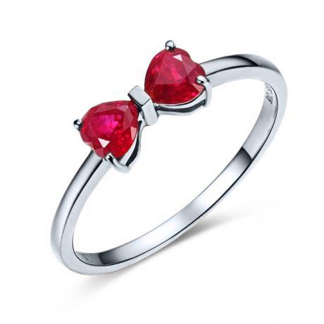 Anello oro bianco rubini taglio cuore - Modello fiocco