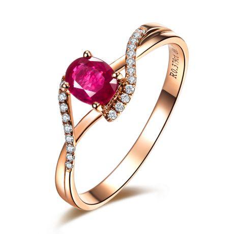 Anello in oro rosa - Rubino taglio ovale e diamanti
