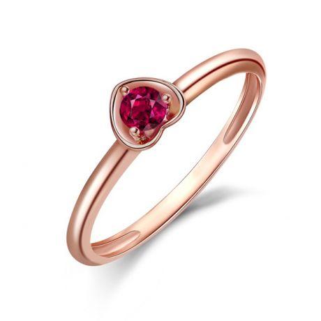 Anello rubino in oro rosa - Collezione Cuore