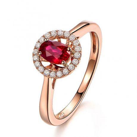 Anello classico con rubino e diamanti - Oro giallo