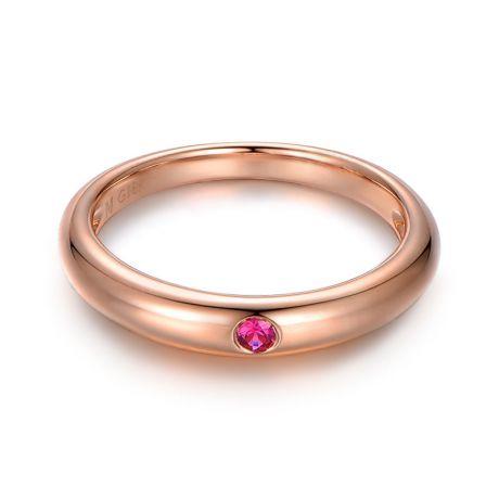 Anello solitario con rubino - Oro rosa 18ct - Incastonatura a chiodo