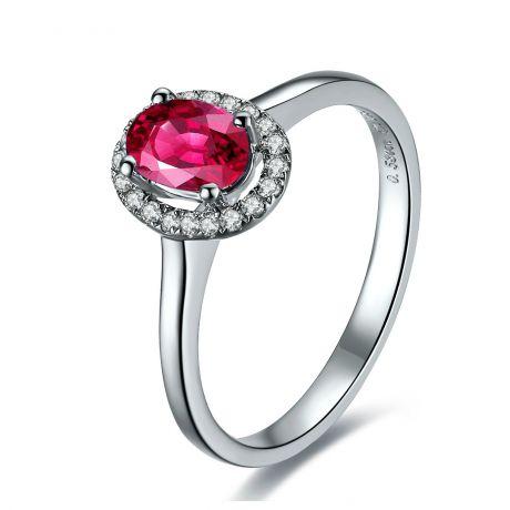 Anello classico con rubino e diamanti - Oro bianco