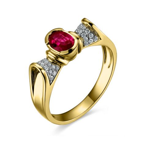 Anello con rubino taglio ovale - Oro giallo 18k