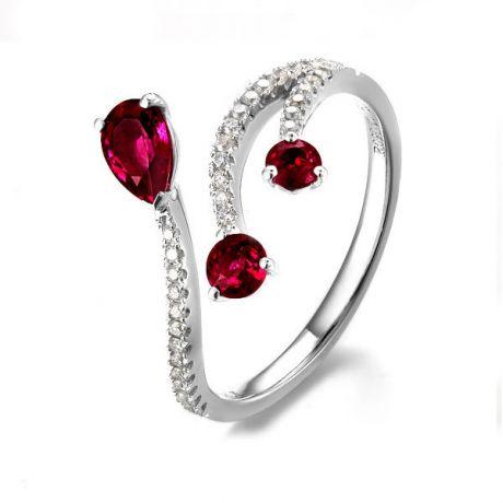 Anello gocce di rubini - Diamanti, oro bianco