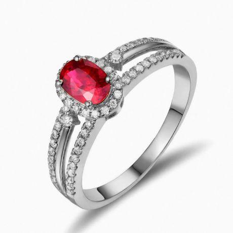 Anello di Fidanzamento in oro bianco 18ct - Rubino e diamanti