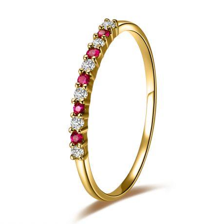 Anello con rubini, diamanti - Oro giallo 18 carati