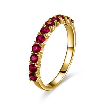 Anello in oro giallo con rubini - Modello fede