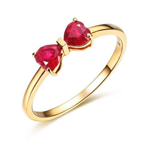 Anello oro giallo rubini taglio cuore - Modello fiocco