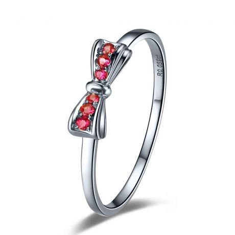 Anello fiocco - Oro bianco e rubini