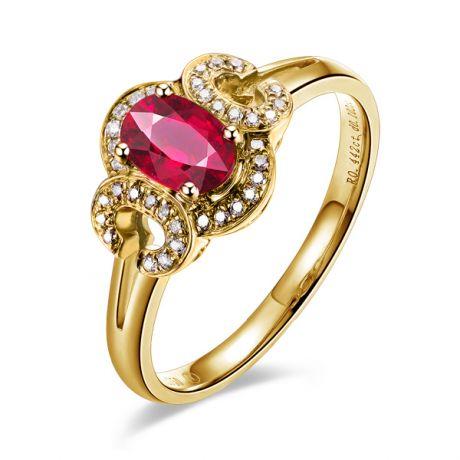 Anello da fidanzamento in rubino, diamanti e oro giallo. Motivo cerchiato
