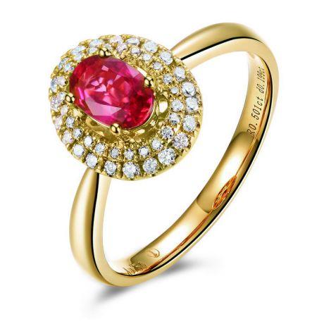 Anello di Fidanzamento Rubino e diamanti - Forma Ovale