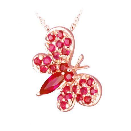 Ciondolo farfallina Oro rosa - Rubini Birmani