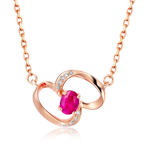 Collana ciondolo Farfalla moderna - Oro Rosa, Rubini e Diamanti