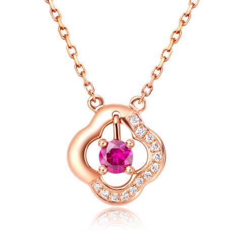 Ciondolo fiore in oro rosa - Incastonature di diamanti e rubino