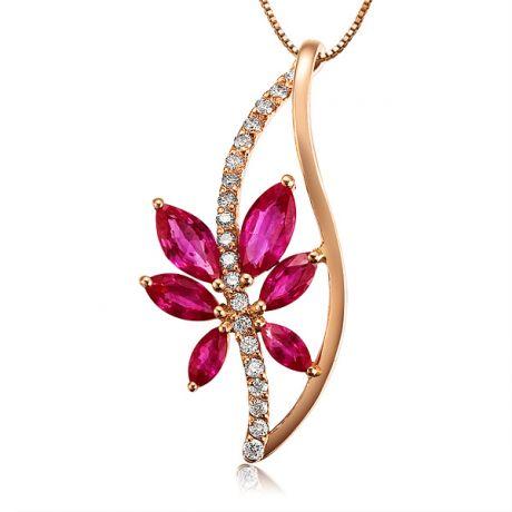 Ciondolo rubino fiore rampicante - Oro rosa 18 carati