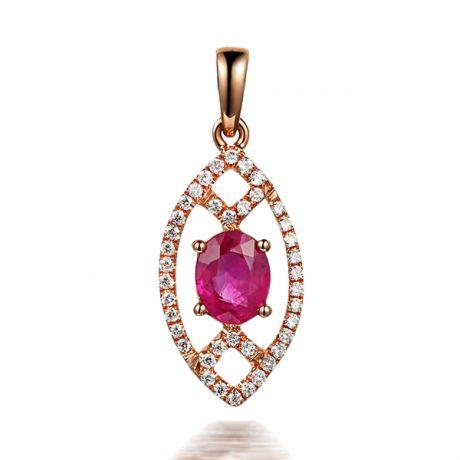 Ciondolo Eurydice Oro rosa 18ct - Rubino taglio ovale e diamanti