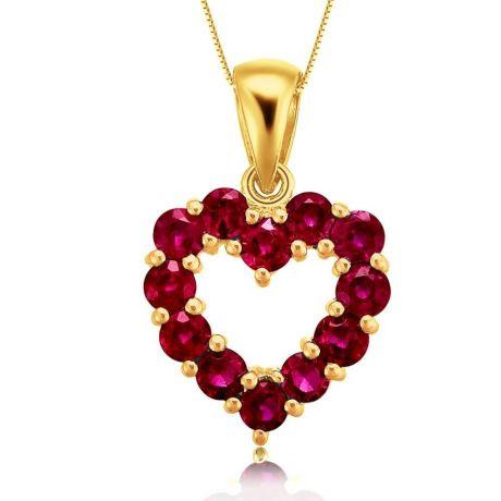 Ciondolo Cuore rosso - Oro giallo e Rubini
