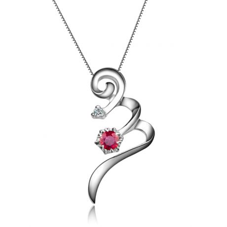 Ciondolo tortiglione - Oro bianco, rubini e diamanti