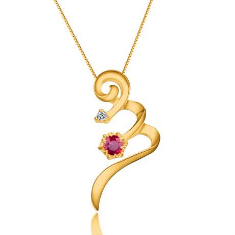 Ciondolo tortiglione - Oro giallo, rubini e diamanti