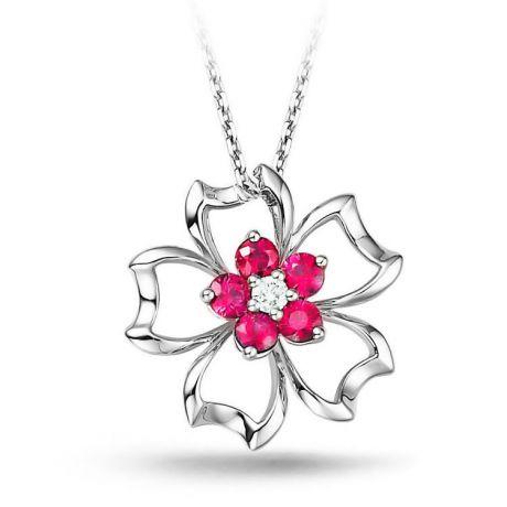 Ciondolo primavera - Oro bianco e rubini