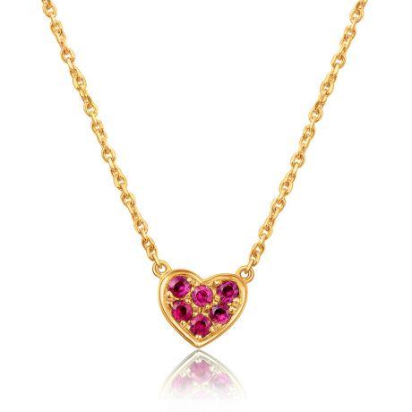 Ciondolo cuore incastonato - Oro giallo, rubini birmani