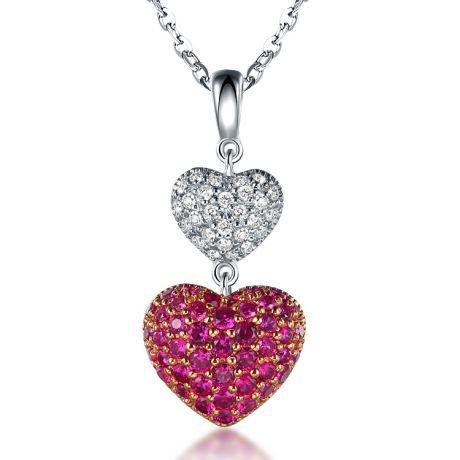 Ciondolo doppio cuore - Rubini e Diamanti incastonati