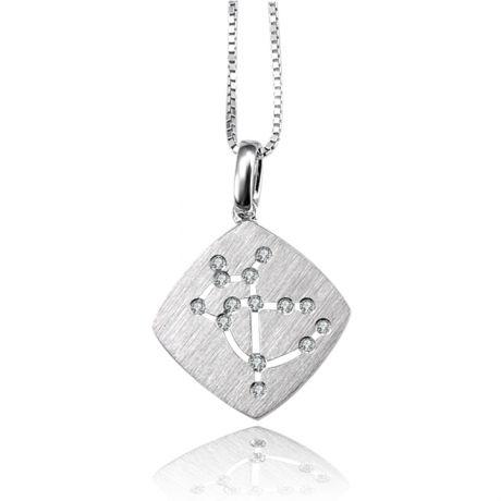 Ciondolo astrologico - Costellazione del sagittario - Oro bianco, diamanti