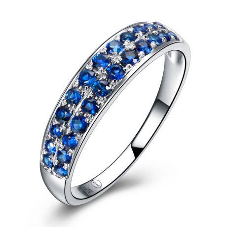 Anello con Zaffiri blu - Oro bianco 18 carati