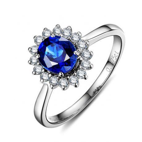 Anello Solitario oro bianco 18ct - Zaffiro e Diamanti