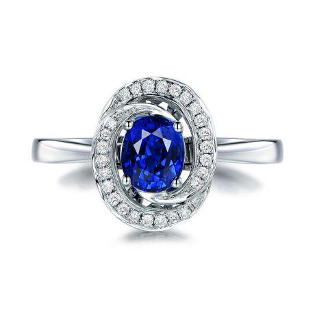 Anello Solitario Sinharâja - Zaffiro Bru e Spirale di diamanti