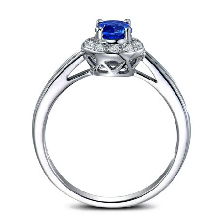 Anello Solitario Fidanzamento - Zaffiro Bru e Corona di diamanti
