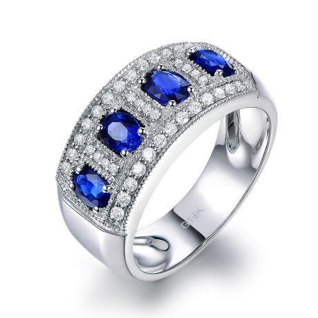 Anello classico Zaffiri e Diamanti - Oro bianco 18 carati