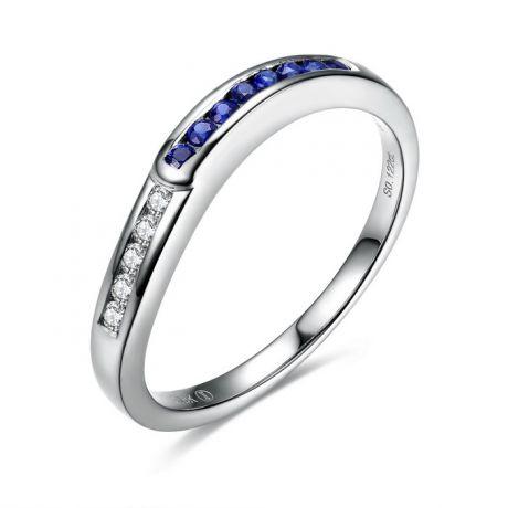 Anello Duale. Oro Bianco, Diamanti e Zaffiri
