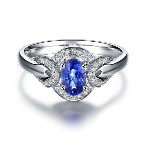 Solitario con Zaffiro e Diamanti - Oro bianco 18 carati