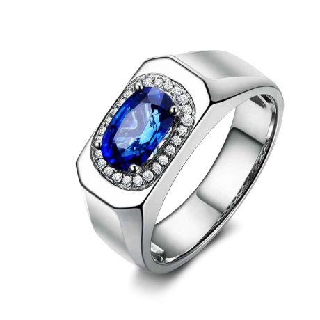 Anello Solitario Dambulla - Zaffiro Bru e incastonature di diamanti