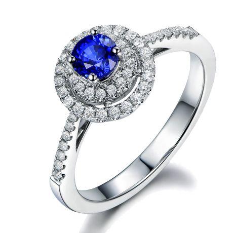 Anello Solitario Fidanzamento - Zaffiro Blu e Corona di diamanti