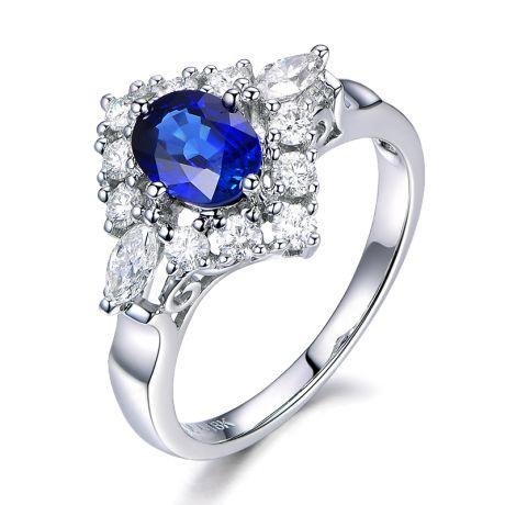 Anello di fidanzamento Zaffiro Diamanti e Oro Bianco