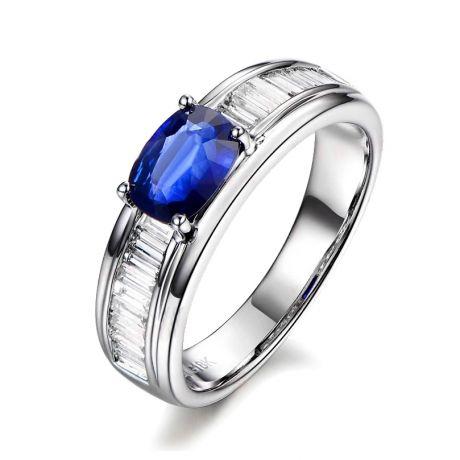 Anello Solitario Perseo - Zaffiro Bru e Corona di diamanti