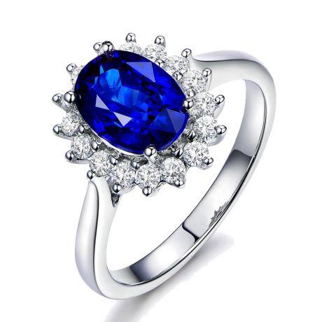 Anello Fiore di Zaffiro, Diamanti e oro bianco - Creazione floreale classica
